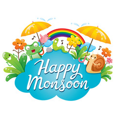 banner of happy monsoon with cartoon character vector image