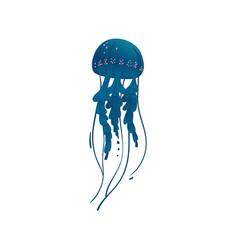 Beautiful blue marine wild animal jellyfish vector
