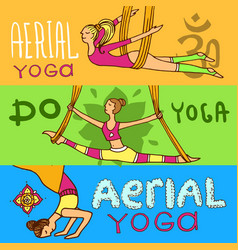 Beautiful hand drawn aerial yoga vector