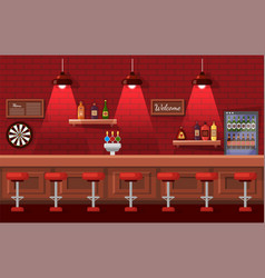 Beer pub with nobody place bar with drink vector