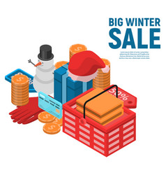 big winter sale concept background isometric vector image