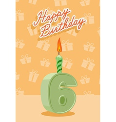 Birthday candle number 6 with flame vector