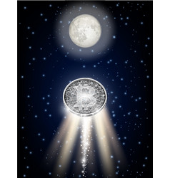 bitcoin flying to the moon like space rocket vector image