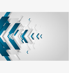 blue and grey tech abstract background with arrows vector image