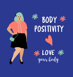 Body positive card model plus size woman vector