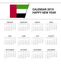 Calendar 2019 uae flag background english language vector