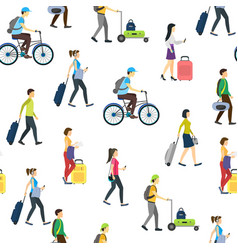 cartoon people traveling seamless pattern vector image