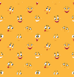 cartoon smiley pattern funny crazy faces happy vector image