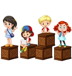 Children on the wooden boxes vector image