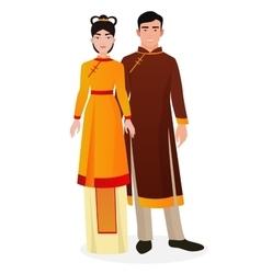Chinese family man and woman couple vector