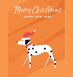 christmas and new year holiday dalmatian dog card vector image