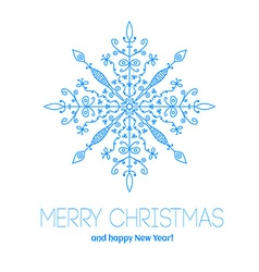 Christmas card with hand drawn snowflake vector image