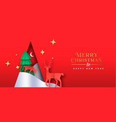 Christmas new year paper cut pine tree deer banner vector