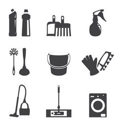 cleaning icons line black vector image