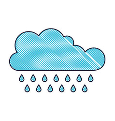 cloud with rain in colored crayon silhouette vector image