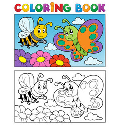 Coloring book butterfly theme 2 vector