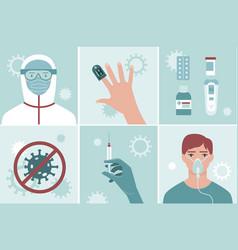 Coronavirus covid19-19 2019-ncov treatment set vector