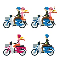 Couple Man Woman Riding Motorcycle vector