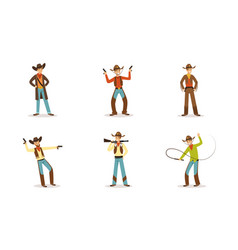 cowboy western character in traditional clothes in vector image