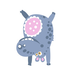 cute cartoon hippo character standing upside down vector image