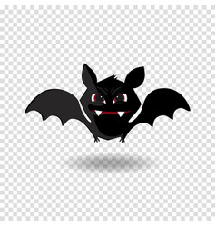 cute flying bat with fangs and red eyes isolated vector image