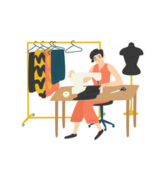 cute lovely girl sitting at desk with sewing vector image