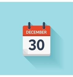 December 30 flat daily calendar icon vector