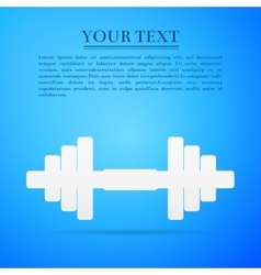 Dumbbell flat icon on blue background vector image