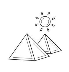 Egyptian pyramid line icon vector