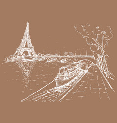 Eiffel tower in sketch style hand drawn vector
