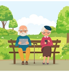 Elderly couple in the park with gadgets vector