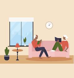Elderly couple people read books in living room vector
