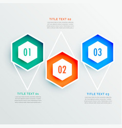 Elegant hexagonal shape three steps infographic vector