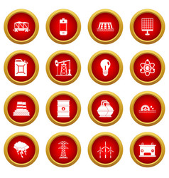 Energy sources items icon red circle set vector