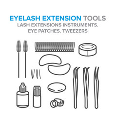 eyelash extension tools lash extensions vector image