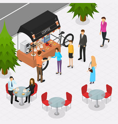 Fast food cart on the street isometric view vector