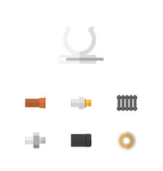 Flat icon plumbing set of heater roll connector vector