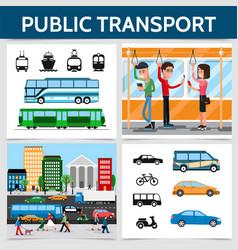flat public transport square concept vector image