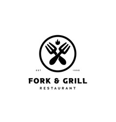 fork and grill kitchen logo for restaurant vector image