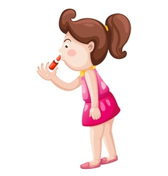Girl with lipstick vector