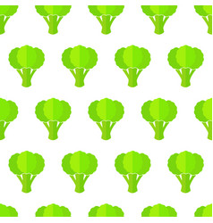 green broccoli seamless organic vegetable pattern vector image