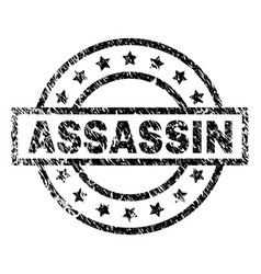 Grunge textured assassin stamp seal vector