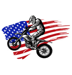 hand drawn and inked american motocross motorcycle vector image