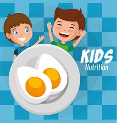 happy boys with nutrition food vector image