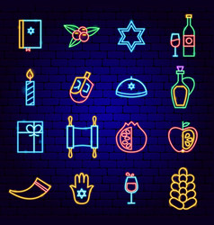 happy hanukkah holiday neon icons vector image