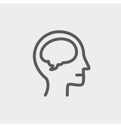 Human head with brain thin line icon vector