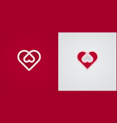 Intertwined heart shapes paper cut love icons vector