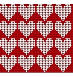 Knitted texture seamless pattern with hearts vector image