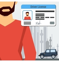 Man with car and driver license vector