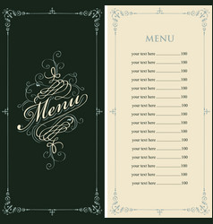 menu for the restaurant in retro baroque style vector image
